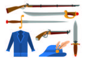 Set Of Musketeer Icons vector