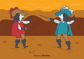 Mosqueteros, lucha, vector