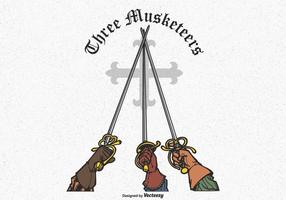 Tre Musketeers Hands Rising Swords Vector