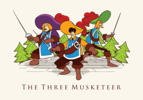 Three Musketeers Vector Illustration