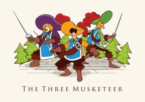 Ilustración vectorial de tres mosqueteros