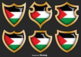 Vector Set Gaza Strip Badges Met Vlag Op Ze