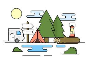 Lineaire Camping Illustratie