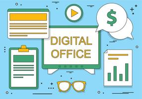 Flat Design Vector Digital Office Icons