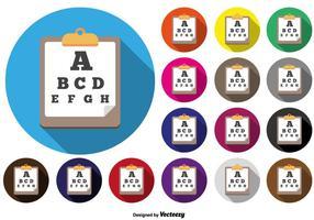 Botones coloridos del icono de la carta de prueba de los ojos del vector