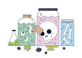 Vetores de frascos de ciência assustadores grátis