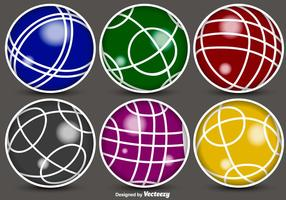 Iconos De Color De Bolas De Bocce De Vector