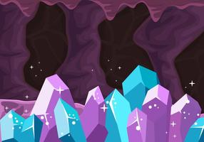 Inside The Cavern With The Cristal Stone Background vector
