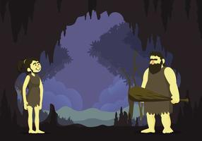 Free Cavern With Prehistoric Couple Illustration