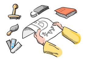 Vecteurs de lithographie vintage gratuits