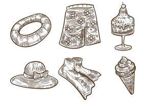 Litograph Sommer Vektor Icons