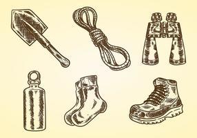 Litograph Wandern Vektor Icons