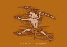 Primitive Hunter Lithograph Vector Illustration