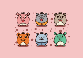 Set of Gerbil Cartoons vector