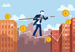 Business Man In Tightrope Company vector
