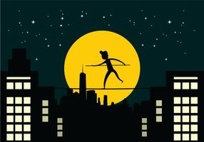 Tightrope Walker Over City Buildings Night