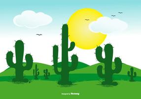Cute Flat Cactus Landscape Scene