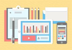 Elementos e acessórios para escritório de vetores de design grátis