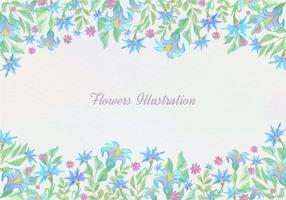 Free-vector-blue-watercolor-floral-background