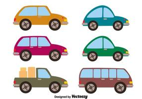 Car Collection Op Witte Vector