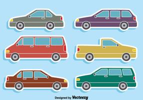 Colección de coches en el vector azul