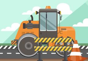 Road Roller With Road Sign vector