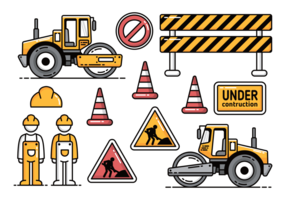 Costruzione di strade con le icone di vettore del rullo compressore