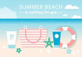 Free Flat Design Vector Summer each