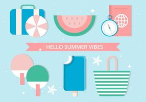 Elementi estivi di vettore di Design piatto gratuito