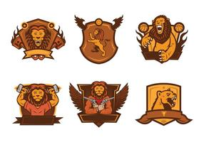 Lion Badge Mascot Vector