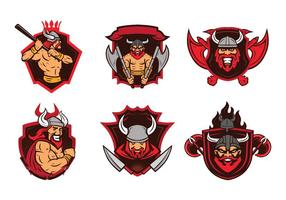 Viking badge mascot vector