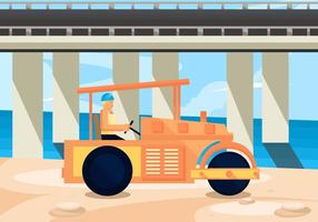 Driver in Road Roller Vector