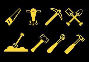 Iconos del vector de la herramienta de la demolición