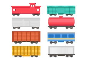 Vector de ícones de trem de passageiros e de carga grátis