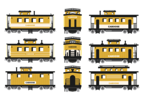 Caboose Icons Vector