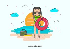 Meisje En Zwem Binnenbuis Vector