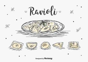 Ensemble de vecteur de Ravioli dessiné à la main