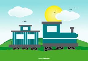 Escena linda del paisaje con el tren