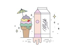 Freie Eiscreme und Milch Vektor