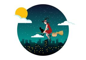 Befana Stting På En Broomstick Vector Illustration