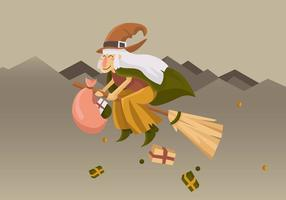 Gullig Befana Flying With Broom Vector Illustration