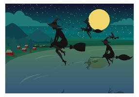 Befana Silhouette Vector Background Illustration