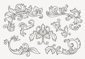 Set av Vintage Filigree Border