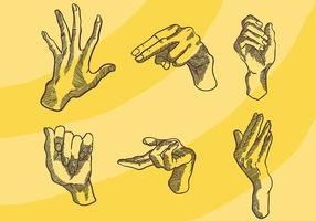 Gravure Old Style Hand Vector Icons
