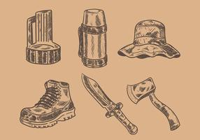 Gravure Old Style Camping Vector Icons