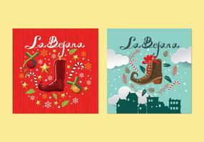 Befana Italian Christmas Tradition Card Vectors