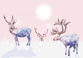 Caribous Low Poly Illustration Vector