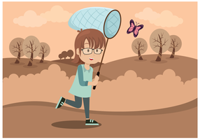 Cute Girl With Butterfly Net Vector