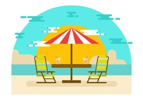Beach Landscape with Lawn Chair Vector Illustration