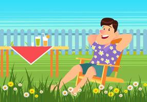 Summer Picnic Sitting On Lawn Chair vector